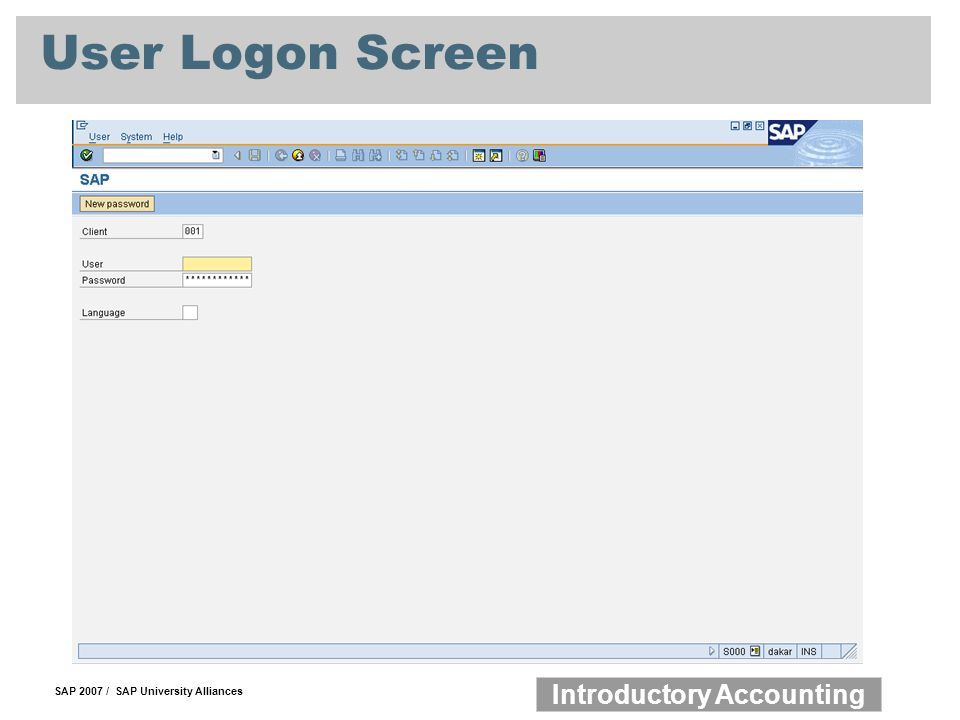 SAP 2007 / SAP University Alliances Introductory Accounting User Logon Screen