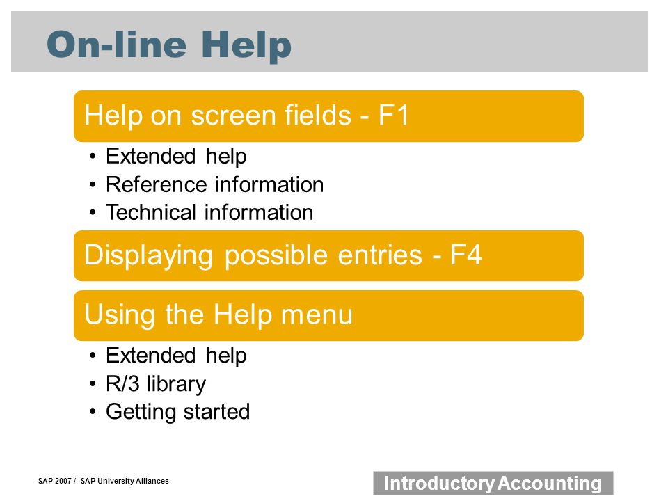SAP 2007 / SAP University Alliances Introductory Accounting On-line Help Help on screen fields - F1 Extended help Reference information Technical information Displaying possible entries - F4Using the Help menu Extended help R/3 library Getting started