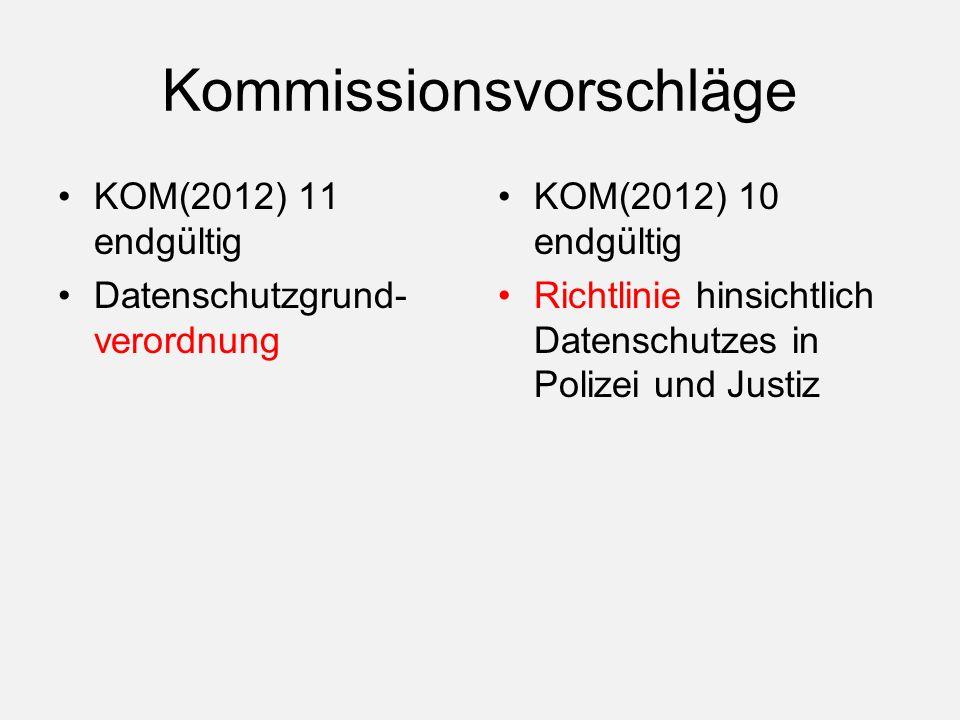 Kommissionsvorschläge KOM(2012) 11 endgültig Datenschutzgrund- verordnung KOM(2012) 10 endgültig Richtlinie hinsichtlich Datenschutzes in Polizei und Justiz