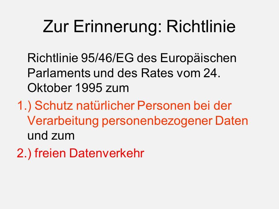 Zur Erinnerung: Richtlinie Richtlinie 95/46/EG des Europäischen Parlaments und des Rates vom 24.