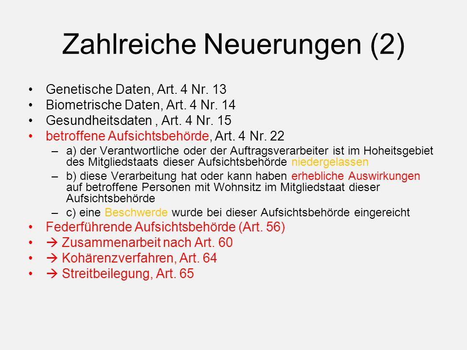 Zahlreiche Neuerungen (2) Genetische Daten, Art. 4 Nr.