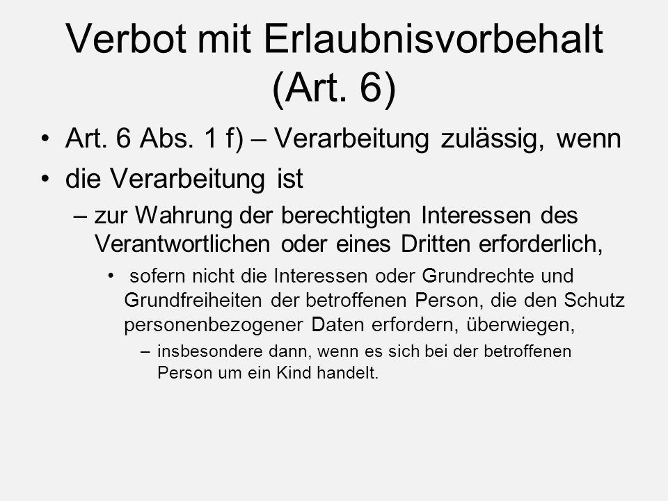 Verbot mit Erlaubnisvorbehalt (Art. 6) Art. 6 Abs.