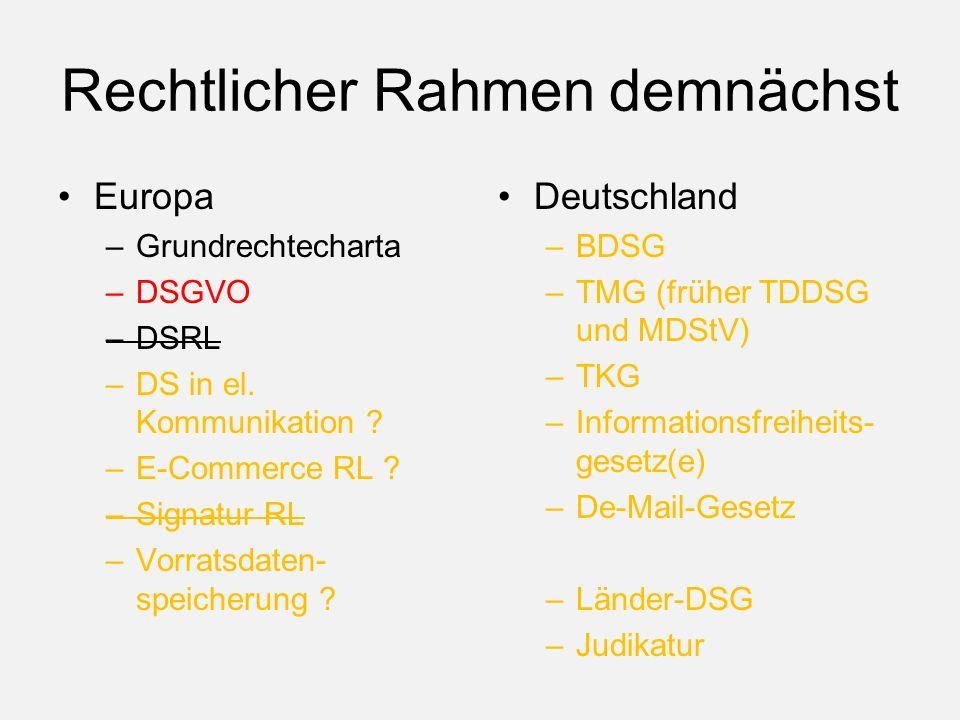 Rechtlicher Rahmen demnächst Europa –Grundrechtecharta –DSGVO –DSRL –DS in el.
