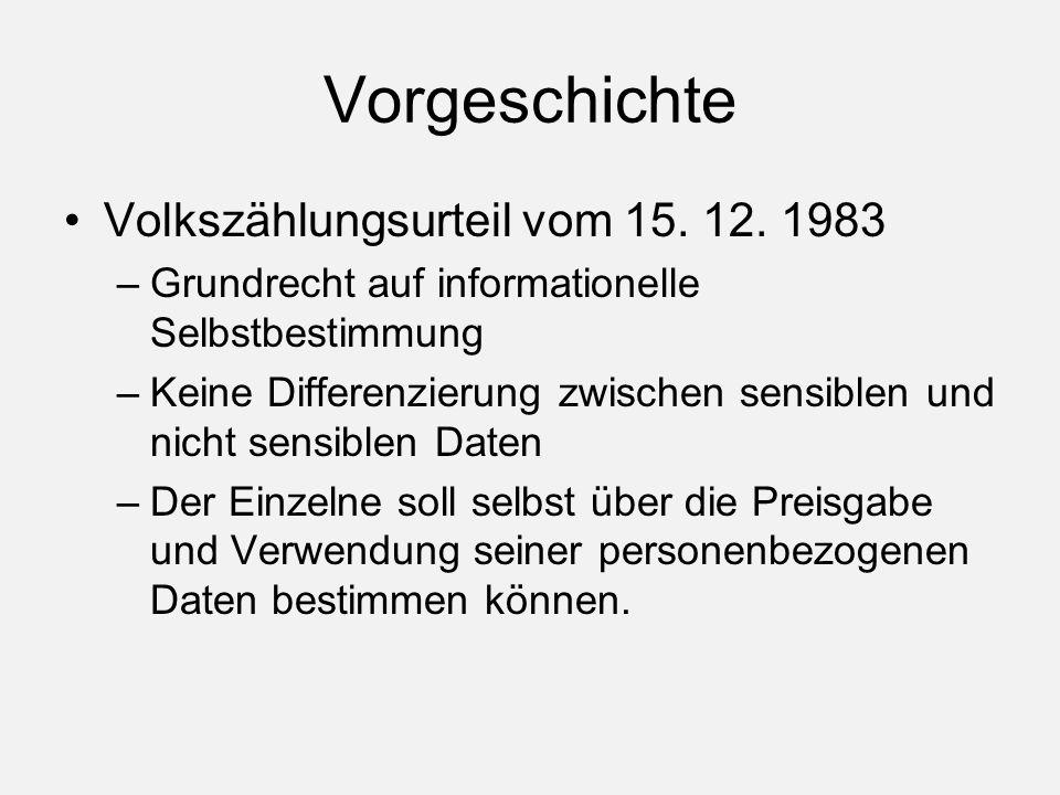 Vorgeschichte Volkszählungsurteil vom 15. 12.