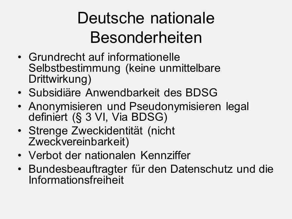 Deutsche nationale Besonderheiten Grundrecht auf informationelle Selbstbestimmung (keine unmittelbare Drittwirkung) Subsidiäre Anwendbarkeit des BDSG Anonymisieren und Pseudonymisieren legal definiert (§ 3 VI, Via BDSG) Strenge Zweckidentität (nicht Zweckvereinbarkeit) Verbot der nationalen Kennziffer Bundesbeauftragter für den Datenschutz und die Informationsfreiheit
