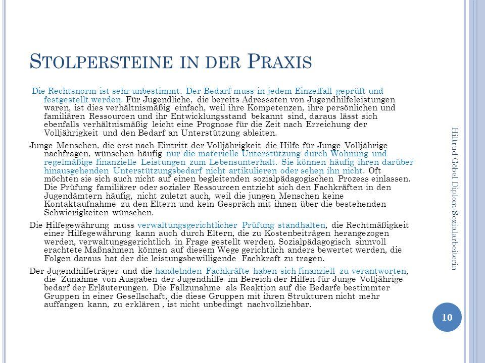 S TOLPERSTEINE IN DER P RAXIS Die Rechtsnorm ist sehr unbestimmt.