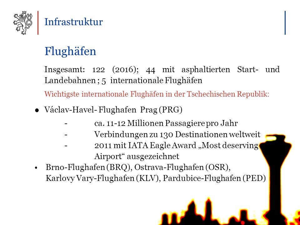Infrastruktur Flughäfen Insgesamt: 122 (2016); 44 mit asphaltierten Start- und Landebahnen ; 5 internationale Flughäfen Wichtigste internationale Flughäfen in der Tschechischen Republik: ●Václav-Havel- Flughafen Prag (PRG) -ca.