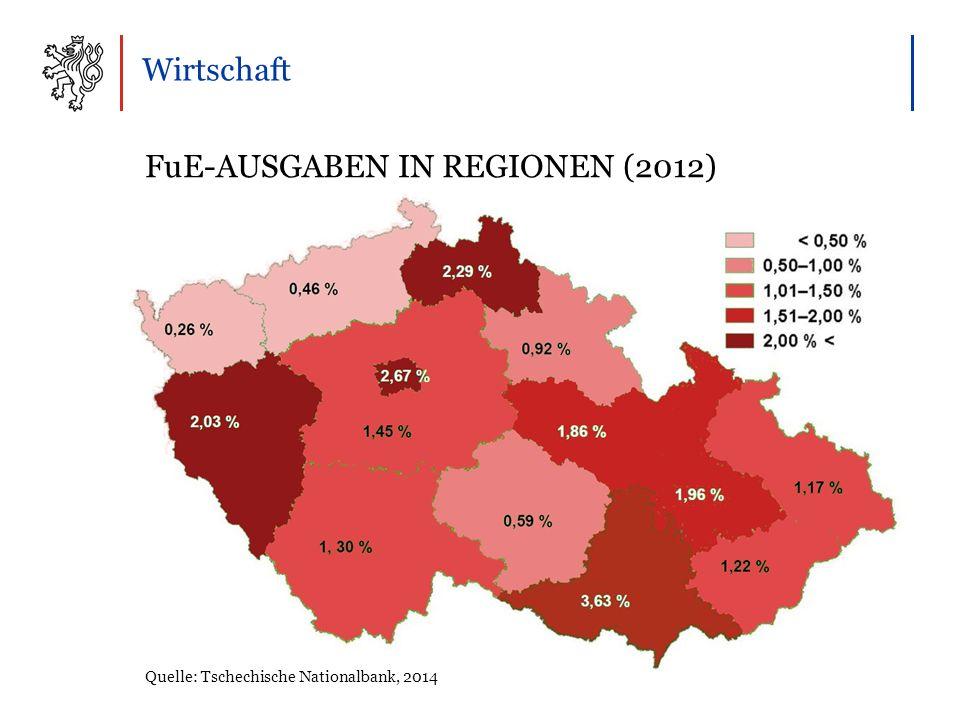 Wirtschaft FuE-AUSGABEN IN REGIONEN (2012) Quelle: Tschechische Nationalbank, 2014