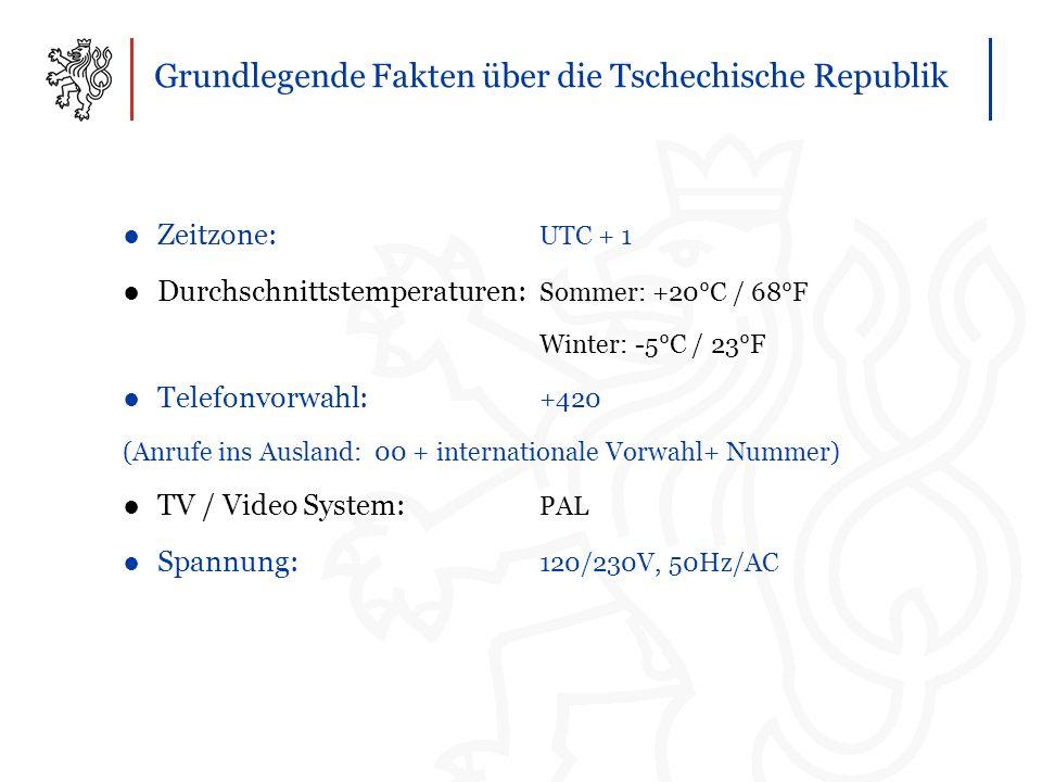 Grundlegende Fakten über die Tschechische Republik ●Zeitzone: UTC + 1 ●Durchschnittstemperaturen: Sommer: +20°C / 68°F Winter: -5°C / 23°F ●Telefonvorwahl: +420 (Anrufe ins Ausland: 00 + internationale Vorwahl+ Nummer) ●TV / Video System: PAL ●Spannung: 120/230V, 50Hz/AC