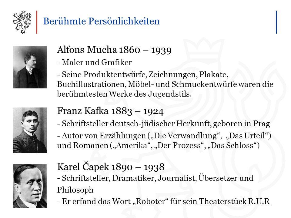 Berühmte Persönlichkeiten Alfons Mucha 1860 – 1939 - Maler und Grafiker - Seine Produktentwürfe, Zeichnungen, Plakate, Buchillustrationen, Möbel- und Schmuckentwürfe waren die berühmtesten Werke des Jugendstils.