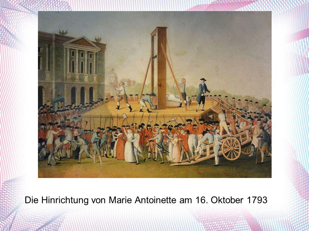 Die Hinrichtung von Marie Antoinette am 16. Oktober 1793