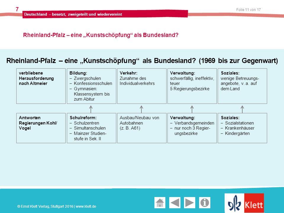 """Geschichte und Geschehen Oberstufe Folie 11 von 17 Deutschland – besetzt, zweigeteilt und wiedervereint 7 Rheinland-Pfalz – eine """"Kunstschöpfung als Bundesland."""
