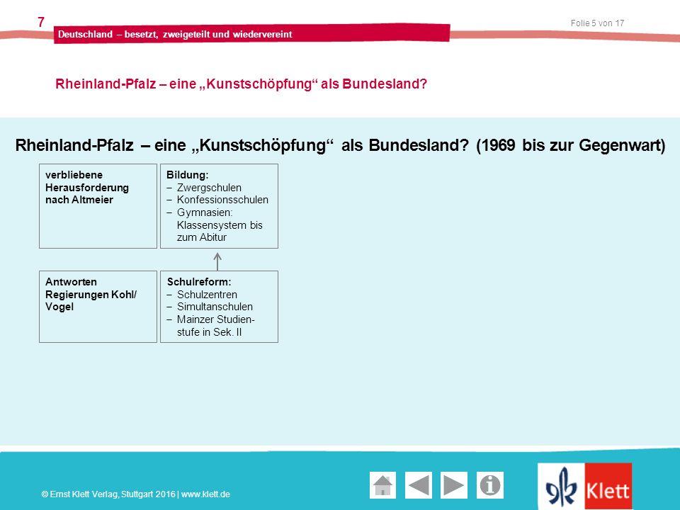 """Geschichte und Geschehen Oberstufe Folie 5 von 17 Deutschland – besetzt, zweigeteilt und wiedervereint 7 Rheinland-Pfalz – eine """"Kunstschöpfung als Bundesland."""