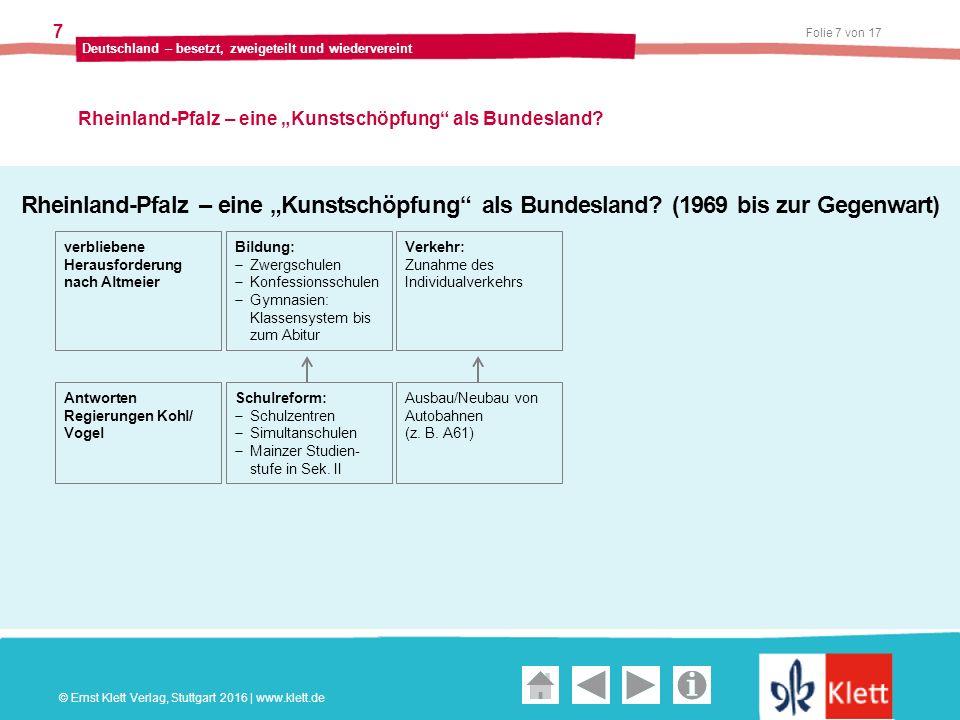 """Geschichte und Geschehen Oberstufe Folie 7 von 17 Deutschland – besetzt, zweigeteilt und wiedervereint 7 Rheinland-Pfalz – eine """"Kunstschöpfung als Bundesland."""