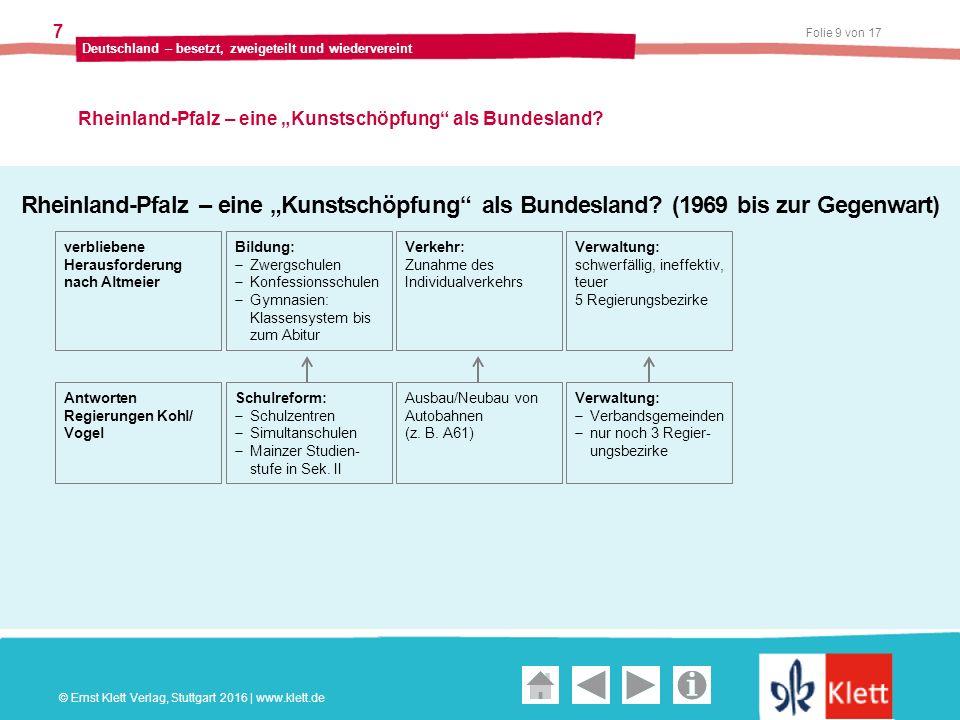 """Geschichte und Geschehen Oberstufe Folie 9 von 17 Deutschland – besetzt, zweigeteilt und wiedervereint 7 Rheinland-Pfalz – eine """"Kunstschöpfung als Bundesland."""