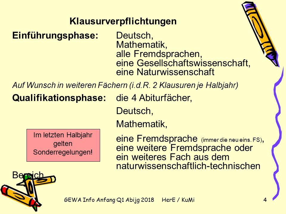 GEWA Info Anfang Q1 Abijg 2018 HerE / KuMi4 Klausurverpflichtungen Einführungsphase: Deutsch, Mathematik, alle Fremdsprachen, eine Gesellschaftswissenschaft, eine Naturwissenschaft Auf Wunsch in weiteren Fächern (i.d.R.