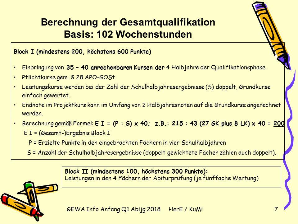 GEWA Info Anfang Q1 Abijg 2018 HerE / KuMi7 Berechnung der Gesamtqualifikation Basis: 102 Wochenstunden Block I (mindestens 200, höchstens 600 Punkte) Einbringung von 35 – 40 anrechenbaren Kursen der 4 Halbjahre der Qualifikationsphase.