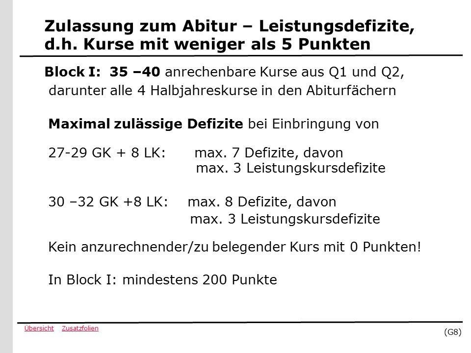 ZusatzfolienÜbersicht (G8) Zulassung zum Abitur – Leistungsdefizite, d.h.