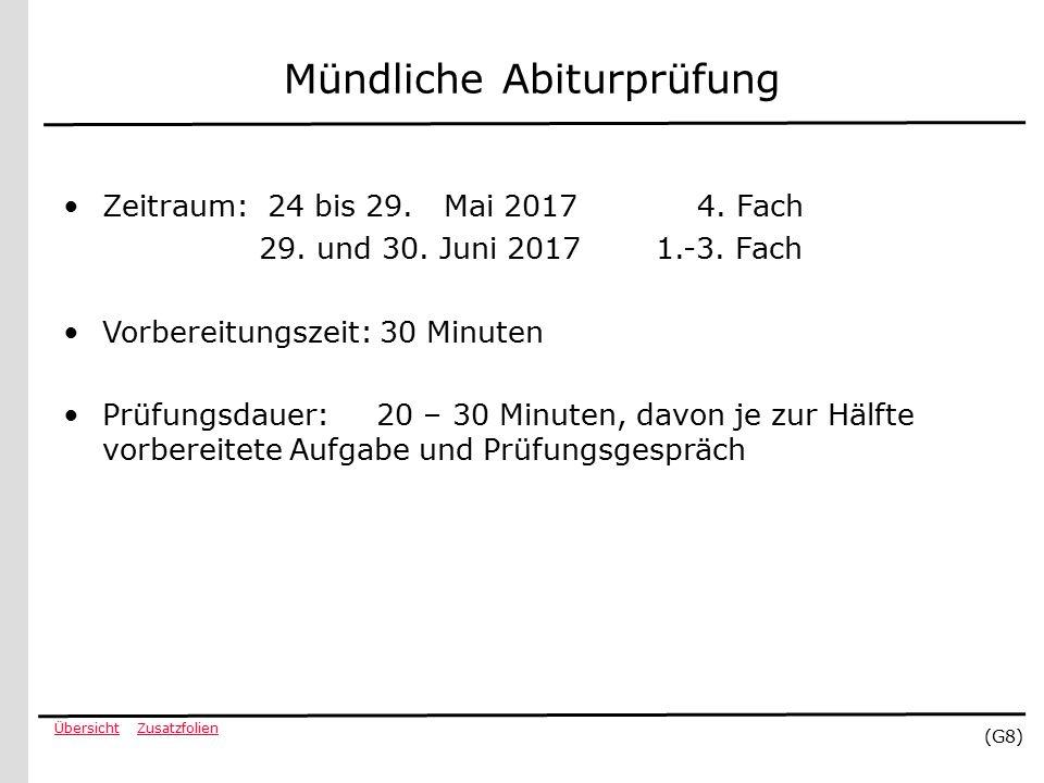 ZusatzfolienÜbersicht (G8) Mündliche Abiturprüfung Zeitraum: 24 bis 29.