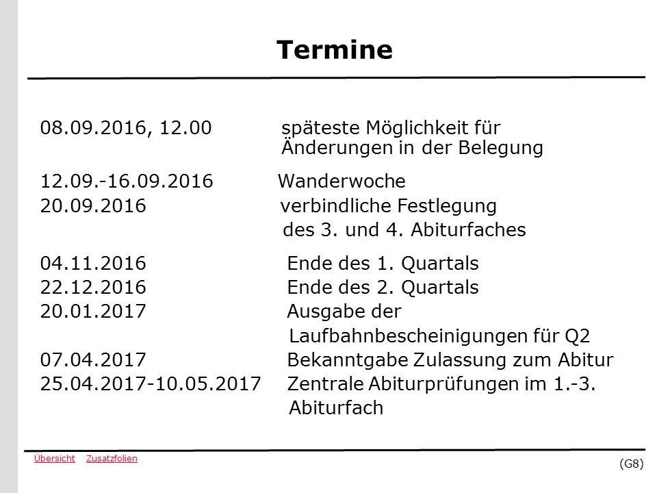 ZusatzfolienÜbersicht (G8) Termine 08.09.2016, 12.00 späteste Möglichkeit für Änderungen in der Belegung 12.09.-16.09.2016 Wanderwoche 20.09.2016 verbindliche Festlegung des 3.