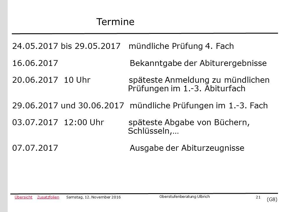 ZusatzfolienÜbersicht (G8) Samstag, 12.