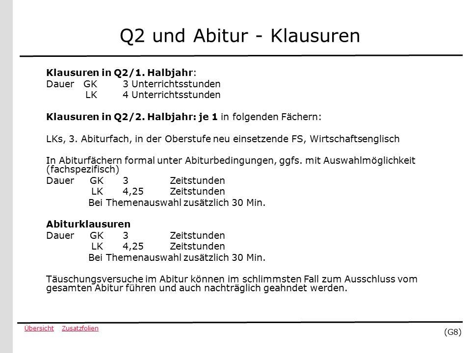 ZusatzfolienÜbersicht (G8) Q2 und Abitur - Klausuren Klausuren in Q2/1.