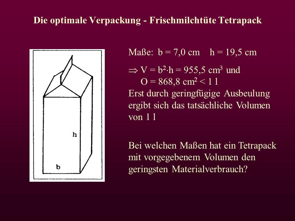 Die optimale Verpackung - Frischmilchtüte Tetrapack Maße:b = 7,0 cm h = 19,5 cm  V = b 2  h = 955,5 cm 3 und O = 868,8 cm 2 < 1 l Erst durch geringfügige Ausbeulung ergibt sich das tatsächliche Volumen von 1 l Bei welchen Maßen hat ein Tetrapack mit vorgegebenem Volumen den geringsten Materialverbrauch