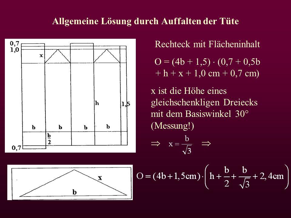 Allgemeine Lösung durch Auffalten der Tüte Rechteck mit Flächeninhalt O = (4b + 1,5)  (0,7 + 0,5b + h + x + 1,0 cm + 0,7 cm) x ist die Höhe eines gleichschenkligen Dreiecks mit dem Basiswinkel 30° (Messung!) 