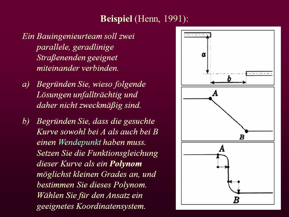 Beispiel (Henn, 1991): Ein Bauingenieurteam soll zwei parallele, geradlinige Straßenenden geeignet miteinander verbinden.