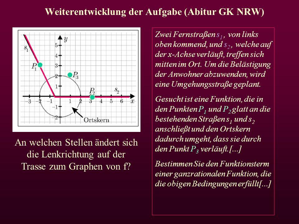 Weiterentwicklung der Aufgabe (Abitur GK NRW) Zwei Fernstraßen s 1, von links oben kommend, und s 2, welche auf der x-Achse verläuft, treffen sich mitten im Ort.