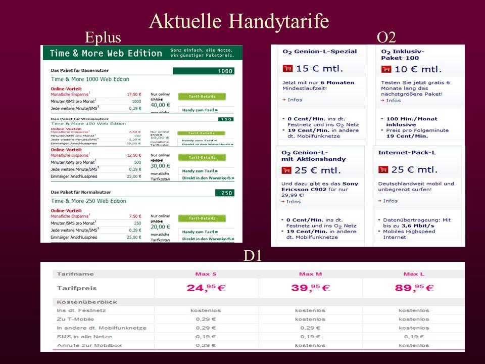 EplusO2 D1 Aktuelle Handytarife