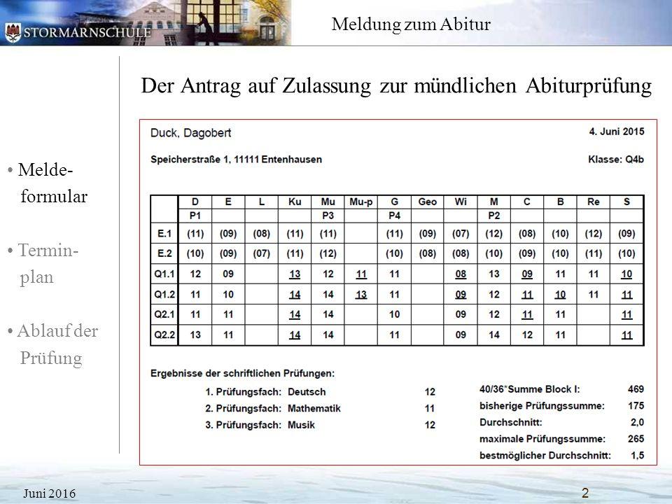Melde- formular Termin- plan Ablauf der Prüfung Meldung zum Abitur Der Antrag auf Zulassung zur mündlichen Abiturprüfung Juni 20162