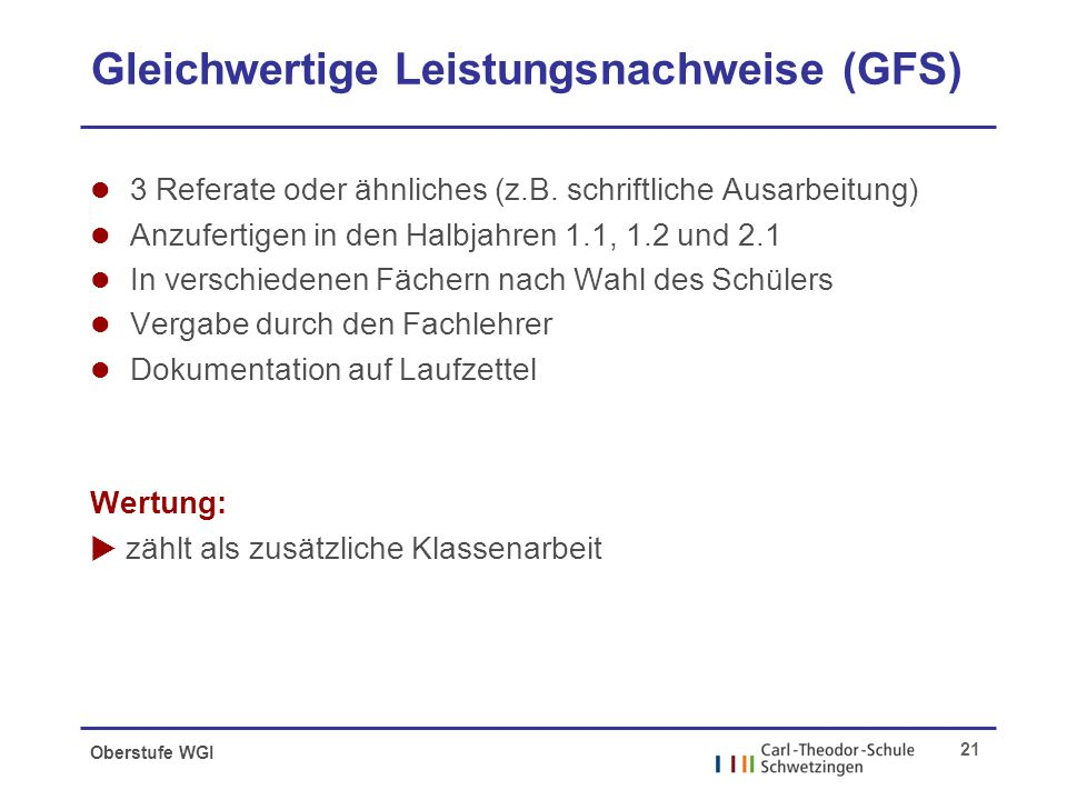 Oberstufe WGI 21 Gleichwertige Leistungsnachweise (GFS) l 3 Referate oder ähnliches (z.B.