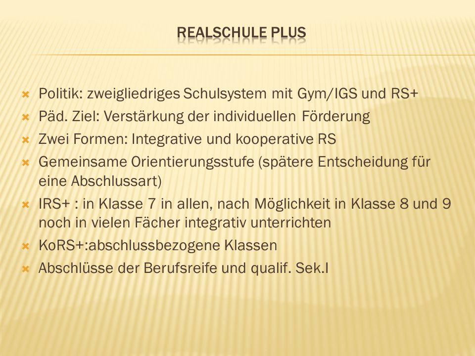  Politik: zweigliedriges Schulsystem mit Gym/IGS und RS+  Päd.