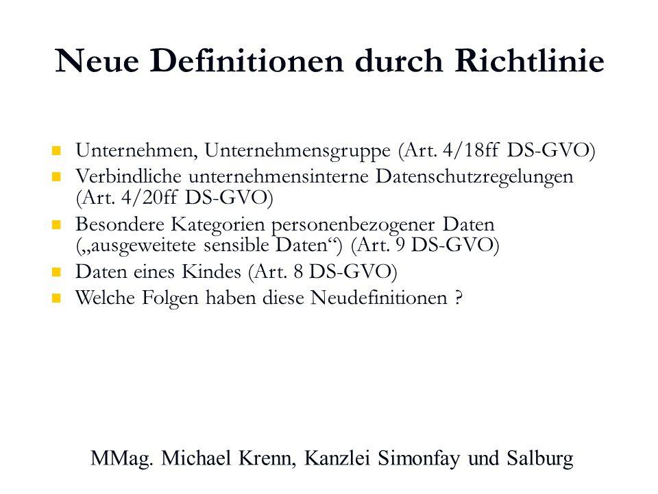 Neue Definitionen durch Richtlinie Unternehmen, Unternehmensgruppe (Art.