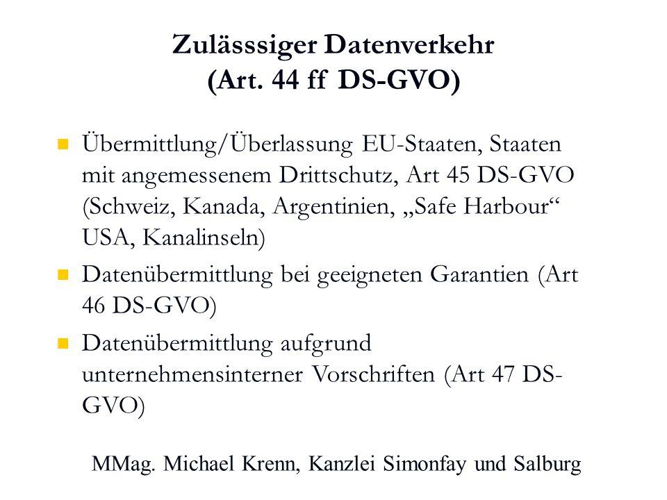 MMag. Michael Krenn, Kanzlei Simonfay und Salburg Zulässsiger Datenverkehr (Art.