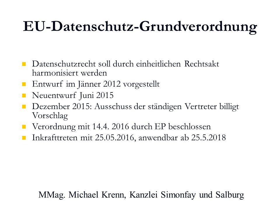 EU-Datenschutz-Grundverordnung Datenschutzrecht soll durch einheitlichen Rechtsakt harmonisiert werden Entwurf im Jänner 2012 vorgestellt Neuentwurf Juni 2015 Dezember 2015: Ausschuss der ständigen Vertreter billigt Vorschlag Verordnung mit 14.4.