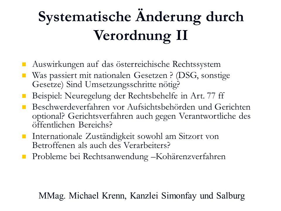 Systematische Änderung durch Verordnung II Auswirkungen auf das österreichische Rechtssystem Was passiert mit nationalen Gesetzen .