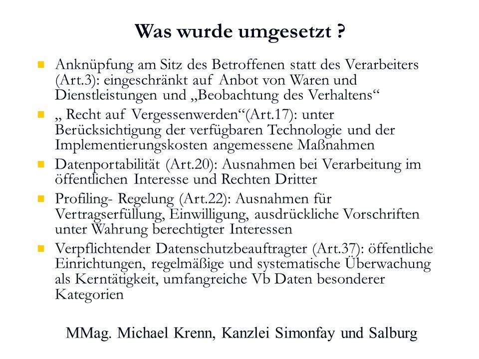 MMag. Michael Krenn, Kanzlei Simonfay und Salburg Was wurde umgesetzt .