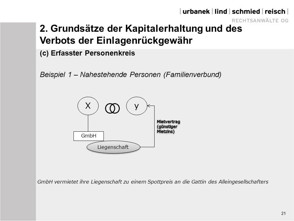 (c) Erfasster Personenkreis Beispiel 1 – Nahestehende Personen (Familienverbund) Xy Liegenschaft GmbH vermietet ihre Liegenschaft zu einem Spottpreis an die Gattin des Alleingesellschafters 21 GmbH 2.