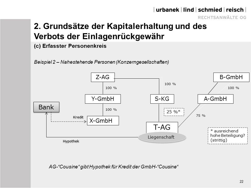 (c) Erfasster Personenkreis Beispiel 2 – Nahestehende Personen (Konzerngesellschaften) Hypothek Z-AG Y-GmbH X-GmbH S-KG T-AG B-GmbH A-GmbH 100 % 25 %* 100 % 75 % Liegenschaft Bank Kredit * ausreichend hohe Beteiligung.