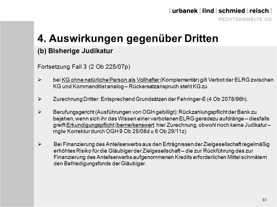 (b) Bisherige Judikatur Fortsetzung Fall 3 (2 Ob 225/07p)  bei KG ohne natürliche Person als Vollhafter (Komplementär) gilt Verbot der ELRG zwischen KG und Kommanditist analog – Rückersatzanspruch steht KG zu  Zurechnung Dritter: Entsprechend Grundsätzen der Fehringer-E (4 Ob 2078/96h).