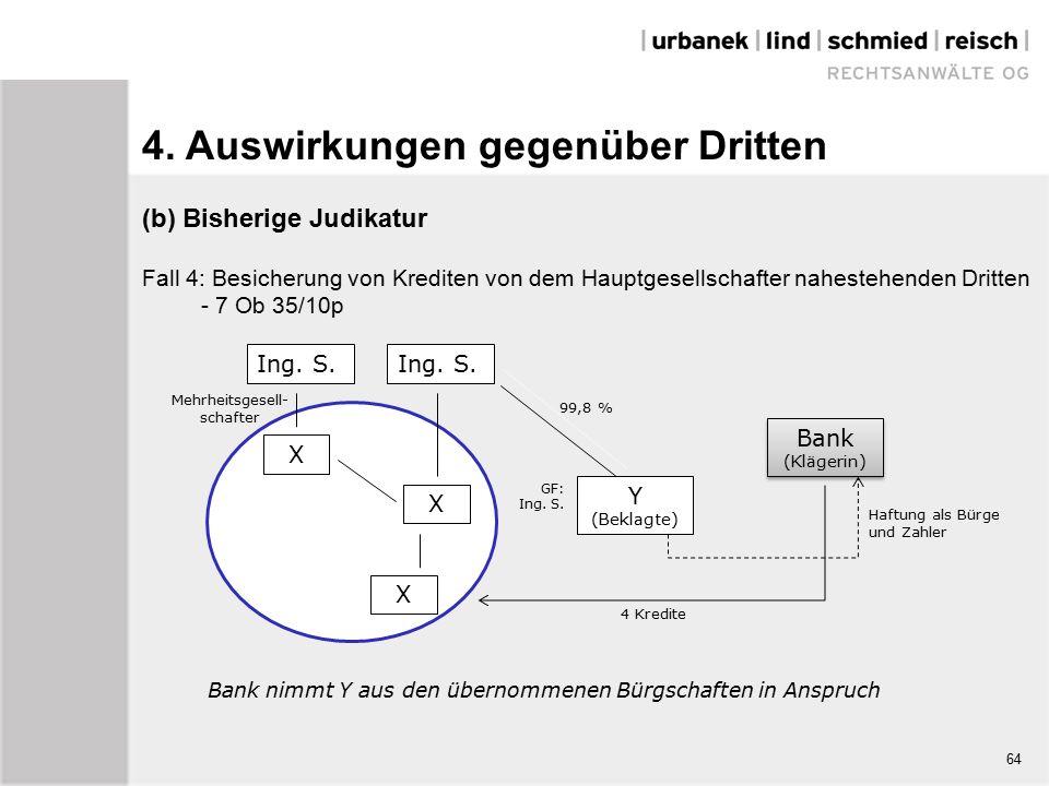 (b) Bisherige Judikatur Fall 4: Besicherung von Krediten von dem Hauptgesellschafter nahestehenden Dritten - 7 Ob 35/10p Haftung als Bürge und Zahler Ing.