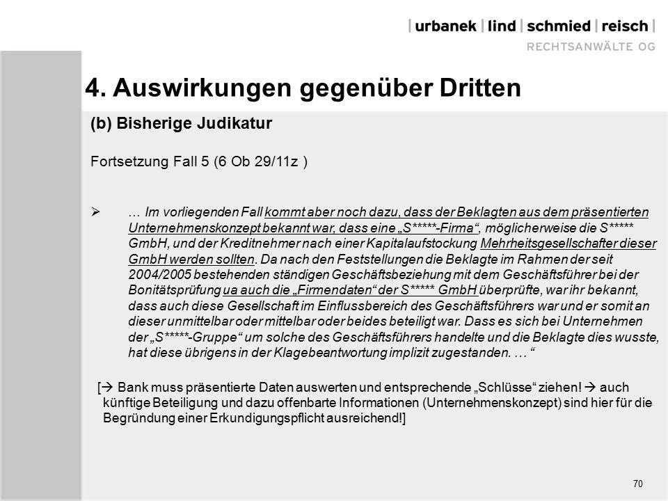 """(b) Bisherige Judikatur Fortsetzung Fall 5 (6 Ob 29/11z )  … Im vorliegenden Fall kommt aber noch dazu, dass der Beklagten aus dem präsentierten Unternehmenskonzept bekannt war, dass eine """"S*****-Firma , möglicherweise die S***** GmbH, und der Kreditnehmer nach einer Kapitalaufstockung Mehrheitsgesellschafter dieser GmbH werden sollten."""