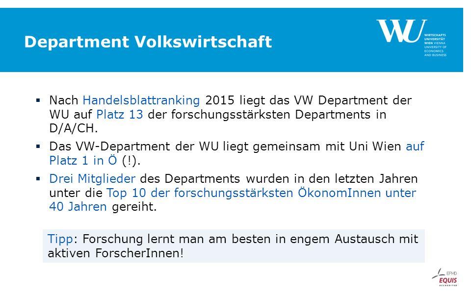 Department Volkswirtschaft  Nach Handelsblattranking 2015 liegt das VW Department der WU auf Platz 13 der forschungsstärksten Departments in D/A/CH.