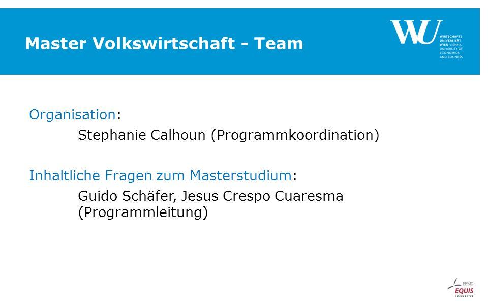 Master Volkswirtschaft - Team Organisation: Stephanie Calhoun (Programmkoordination) Inhaltliche Fragen zum Masterstudium: Guido Schäfer, Jesus Crespo Cuaresma (Programmleitung)