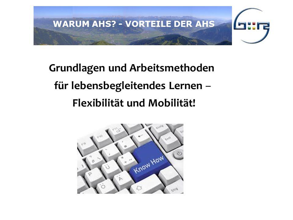 Grundlagen und Arbeitsmethoden für lebensbegleitendes Lernen – Flexibilität und Mobilität.