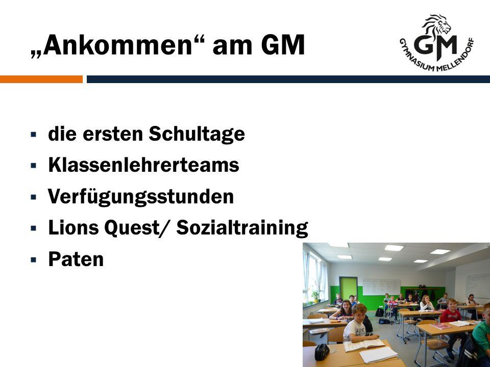 """""""Ankommen am GM  die ersten Schultage  Klassenlehrerteams  Verfügungsstunden  Lions Quest/ Sozialtraining  Paten"""