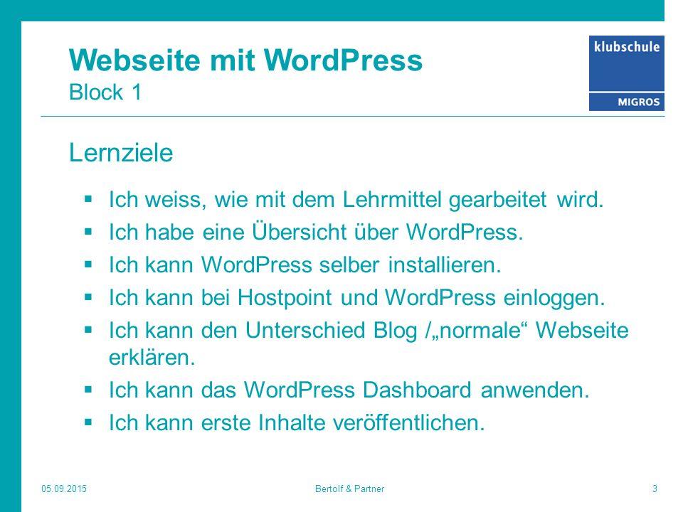 Webseite mit WordPress Block 1 Lernziele  Ich weiss, wie mit dem Lehrmittel gearbeitet wird.