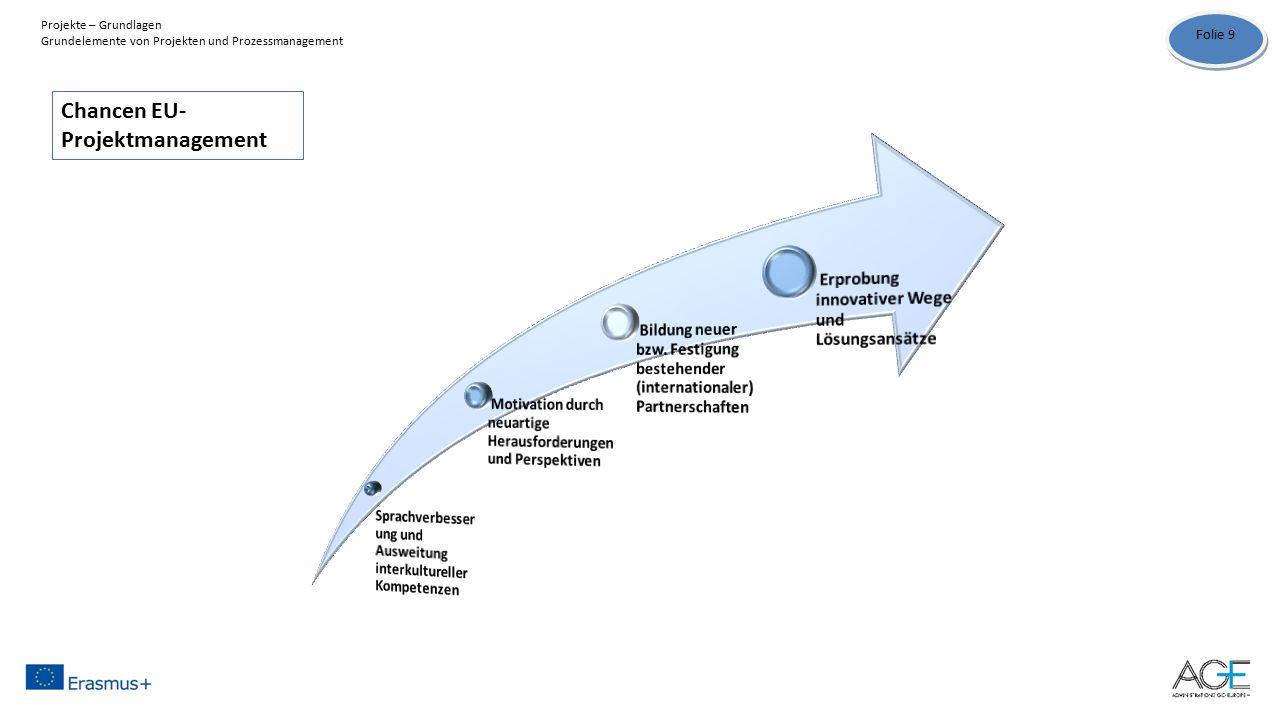 Chancen EU- Projektmanagement Folie 9 Projekte – Grundlagen Grundelemente von Projekten und Prozessmanagement